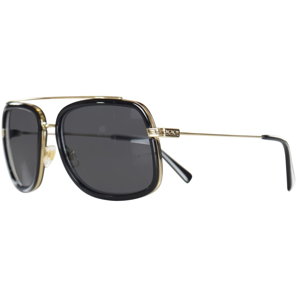 0ce30d9cc6f2 VERSACE Versace Accessories Black Silver Frame Detail Sunglasses ...