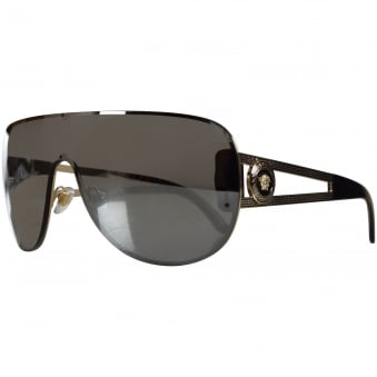 Versace Accessories Black Single Lens Aviator Sunglasses