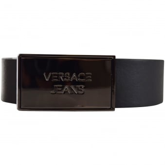 Versace Accessories Black Solid Plate Logo Belt