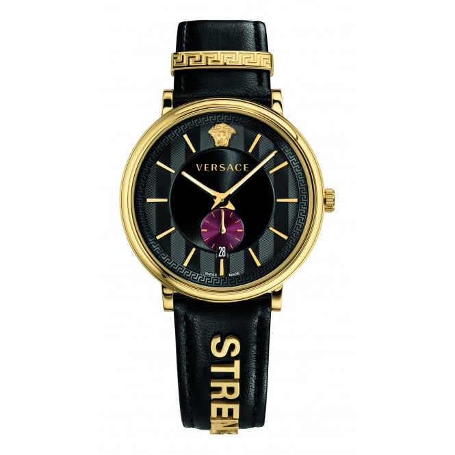 VERSACE ACCESSORIES Black Strength Leather Watch
