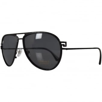 Versace Accessories Black Studded Aviator Frame Sunglasses