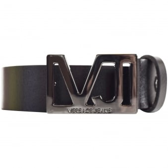 Versace Accessories Black Text Logo Buckle Belt
