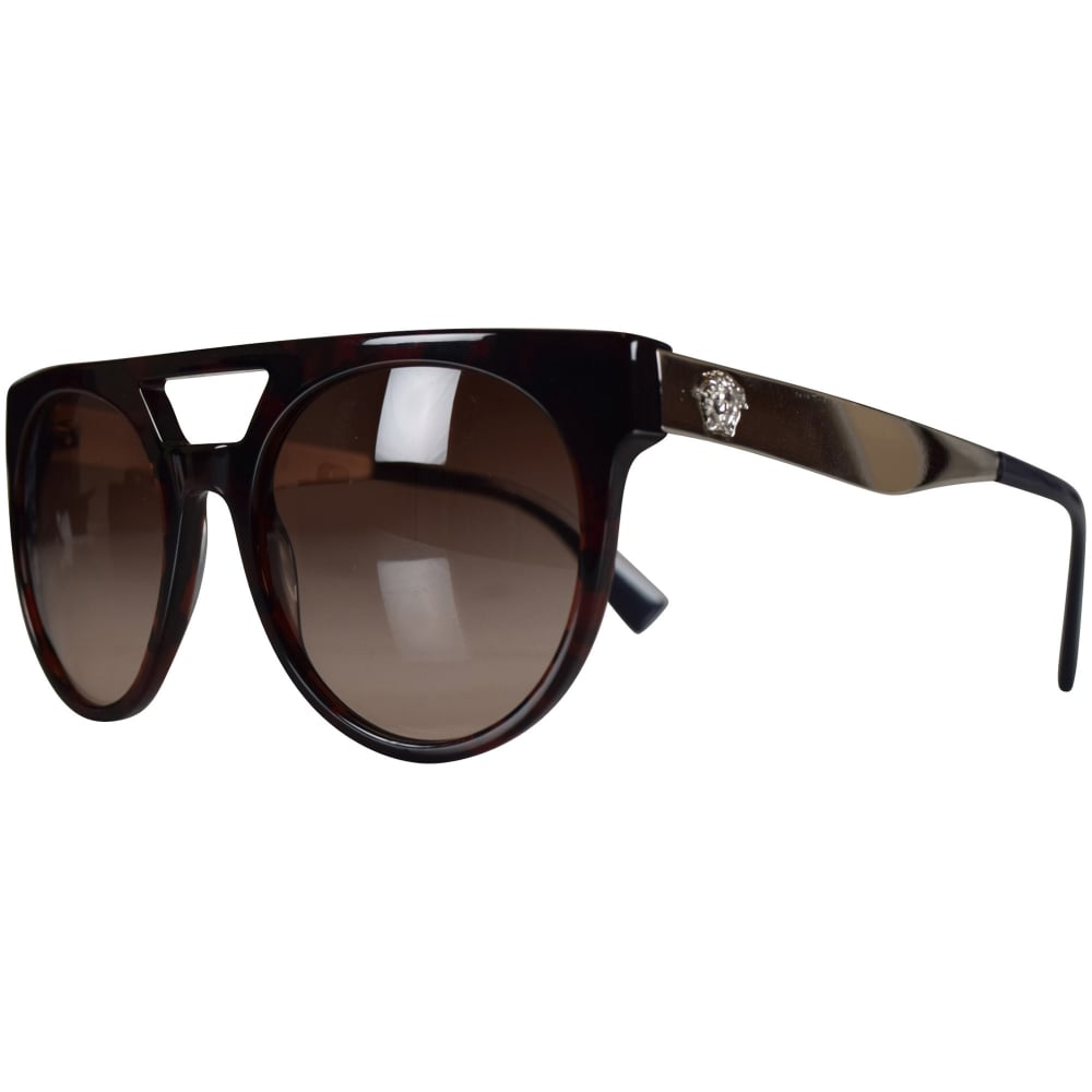 408c1d1f0e3f VERSACE Versace Accessories Brown Silver Round Frame Sunglasses ...