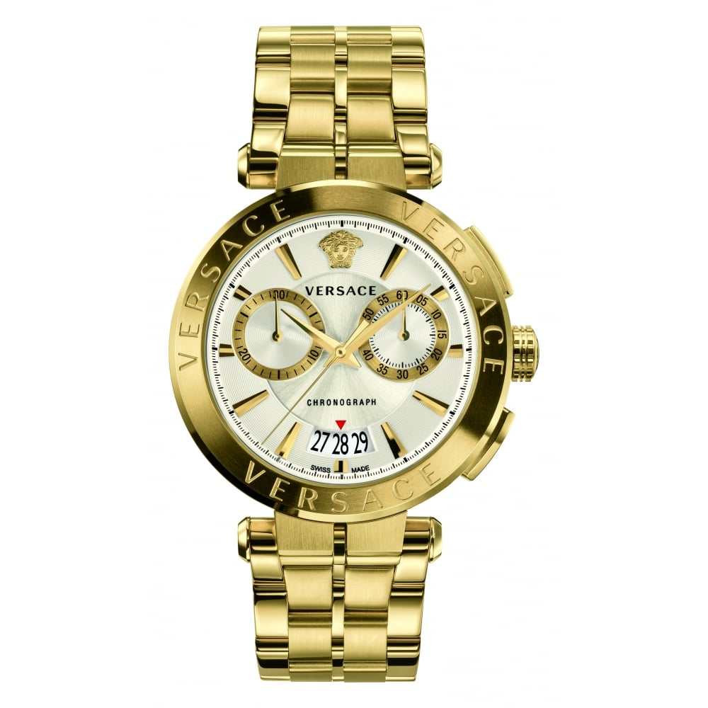 cf4419fa69c VERSACE Versace Accessories Gold Chronograph Stainless Steel Watch ...