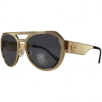 Versace Accessories Gold Frame Aviator Sunglasses