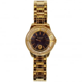 Versace Accessories Gold/Navy Diamond Bezel Watch