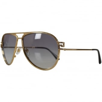 Versace Accessories Gold Studded Aviator Sunglasses