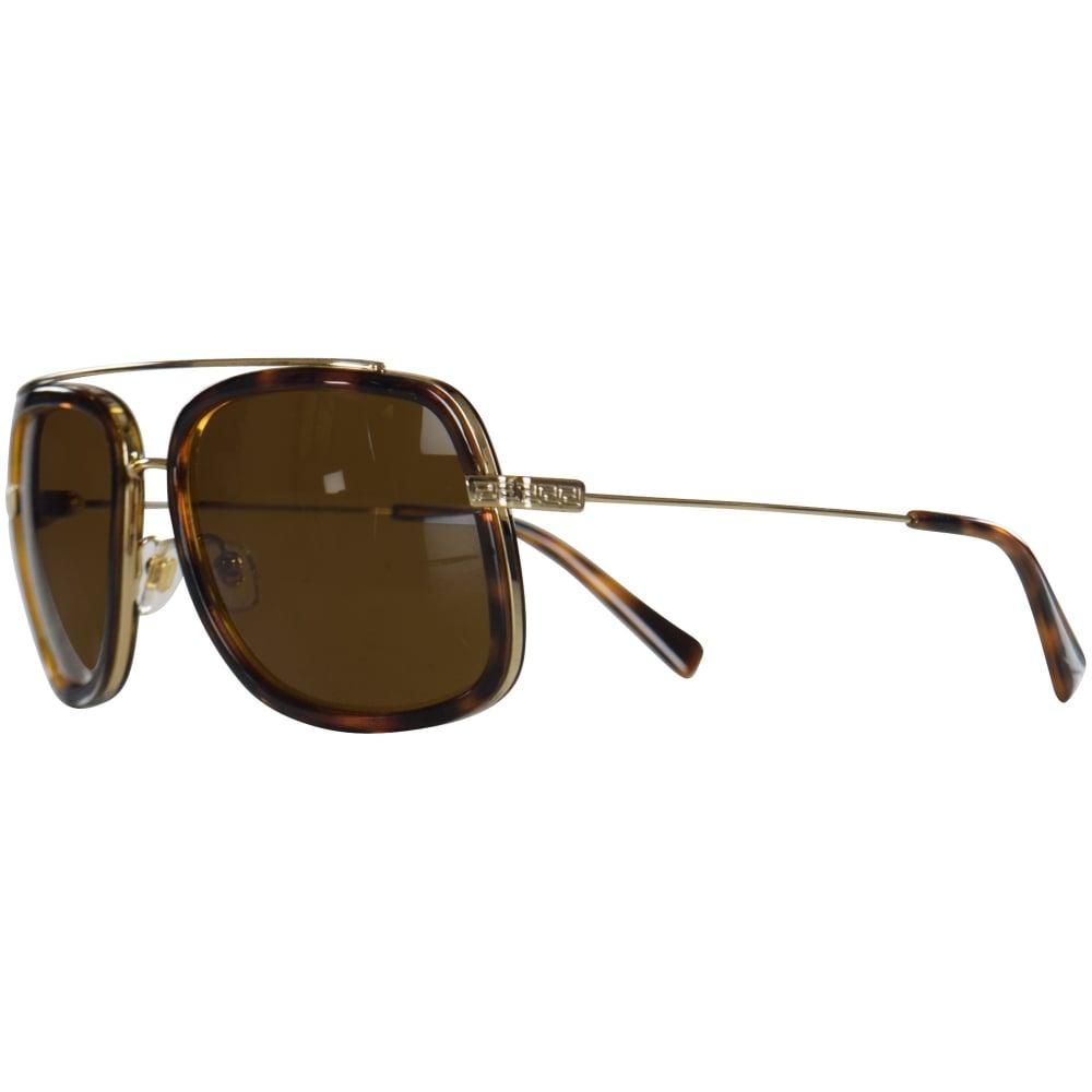 d51c496840 VERSACE Versace Accessories Havana Gold Frame Detail Sunglasses ...