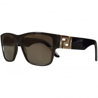 Versace Accessories Khaki/Black Logo Wayfarer Sunglasses