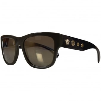 Versace Accessories Khaki/Black Wayfarer Sunglasses