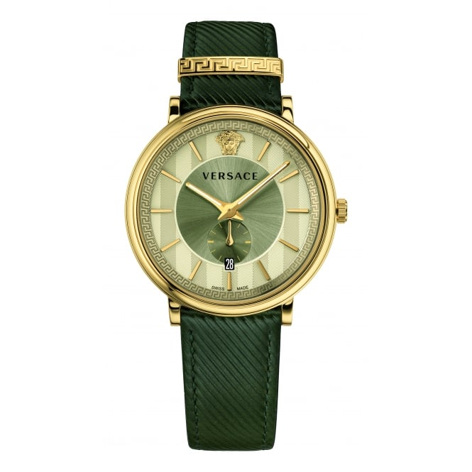 VERSACE ACCESSORIES Khaki Leather Strap Watch