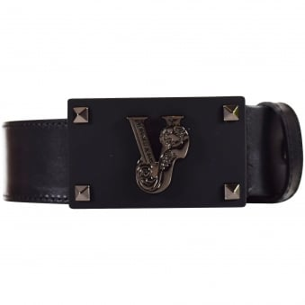 Versace Accessories Matte Black Studded Logo Belt