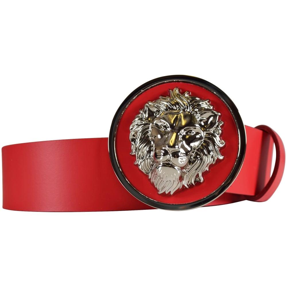 c12b6e2ff14 VERSACE ACCESSORIES Versace Accessories Red Lion Buckle Belt ...