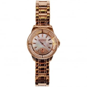 Versace Accessories Rose Gold Diamond Bezel Watch