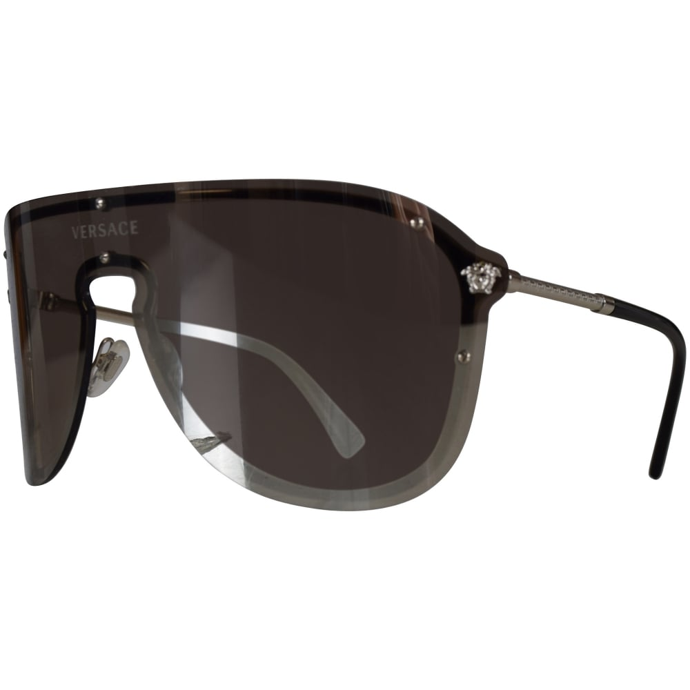 ee27587340bc VERSACE Versace Accessories Silver Reflective Single Frame Aviator ...