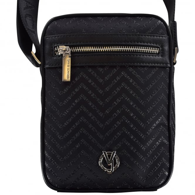 VERSACE ACCESSORIES Small Black Multi Text Body Bag