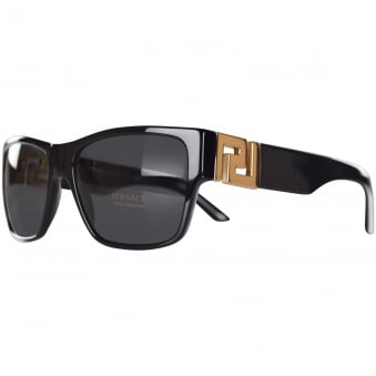 Versace Black/Gold Logo Wayfarer Sunglasses