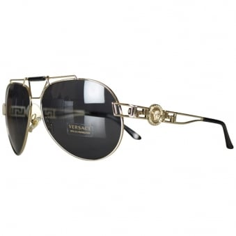 Versace Black Medusa Aviator Sunglasses