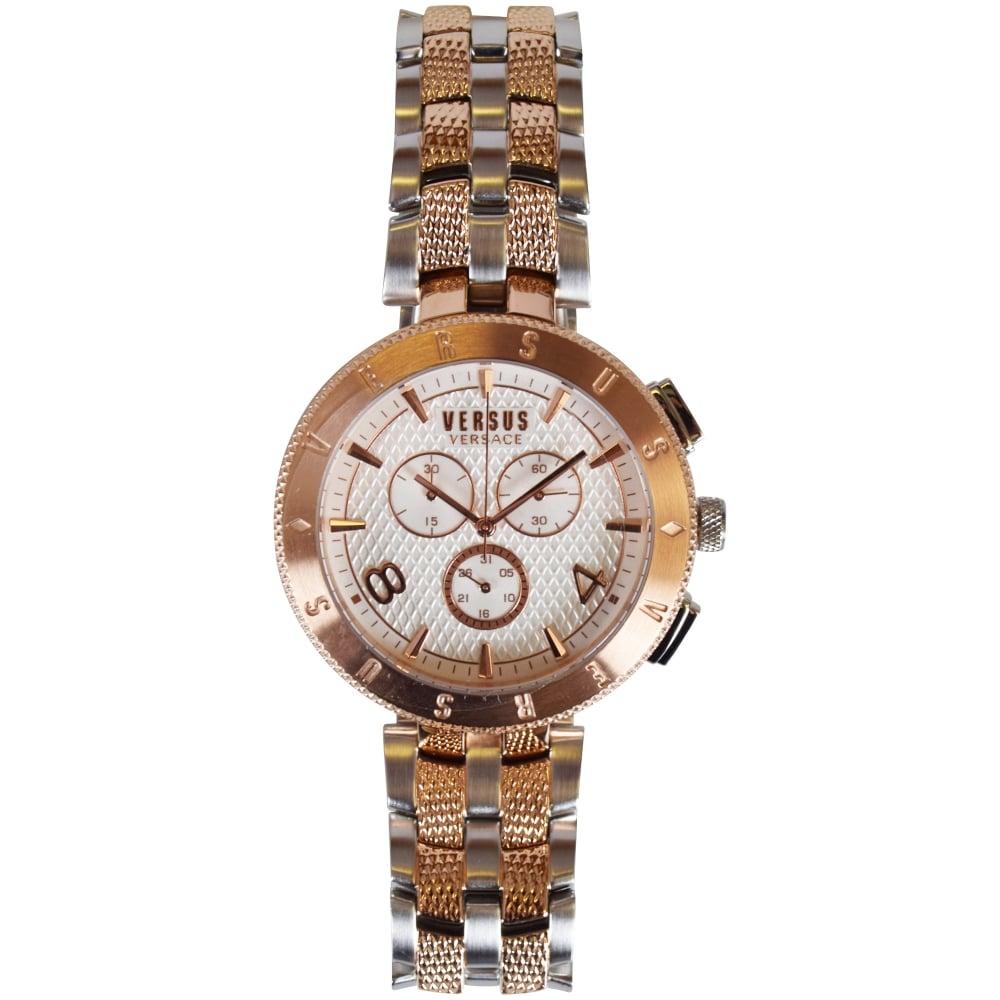 8af017f5562 Versace Accessories Versus Versace Rose Gold Silver Engraved Bezel Watch