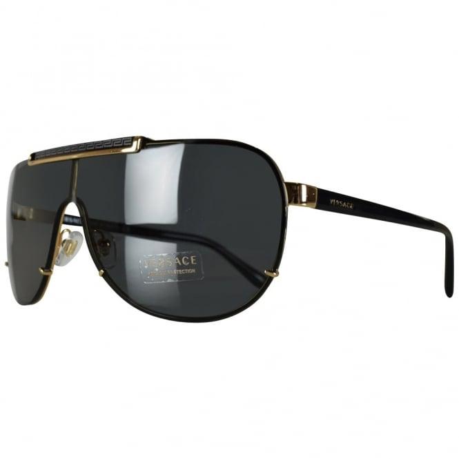 VERSACE Versace Black/Gold Aviator Sunglasses - Men from ...