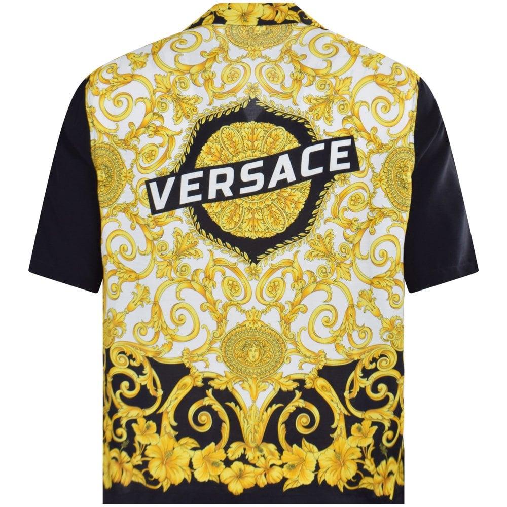 39617b689f Black/Gold Hibiscus Print Short Sleeve Shirt