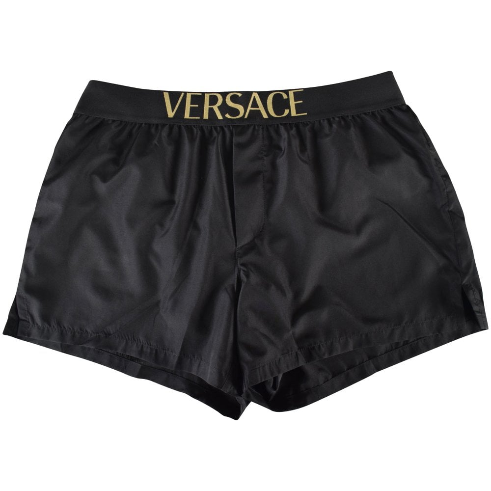 0251c9560a VERSACE Black/Gold Text Swim Shorts - Department from Brother2Brother UK