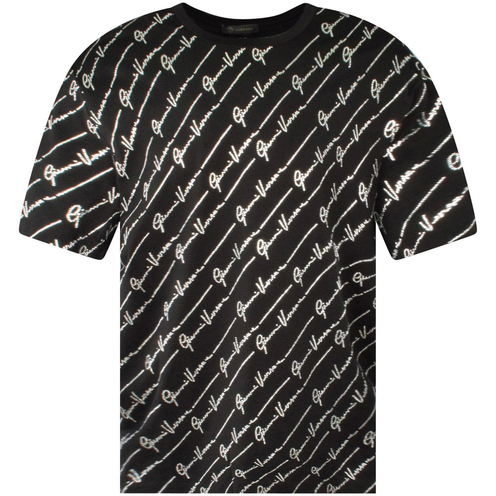 Black T-shirt with Giovanni Versace pattern logo
