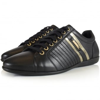Versace Collection Black/Gold Detailing Trainers