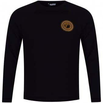 Versace Collection Black & Gold Rubber Logo Sweatshirt