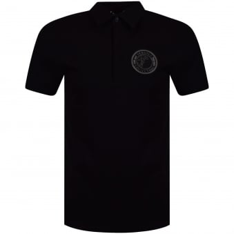 Versace Collection Black Medusa Badge Logo Polo Shirt