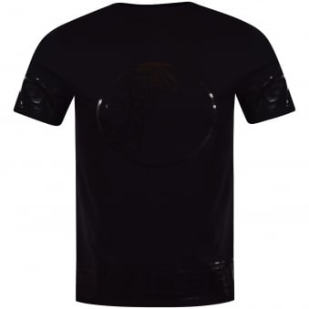 Versace Collection Black Patent Print Logo T-Shirt