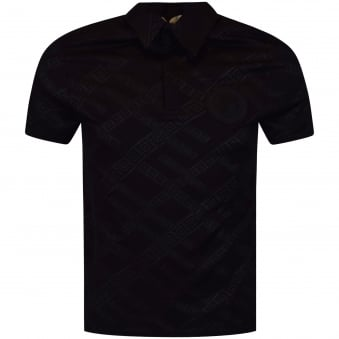 Versace Collection Black Pattern Logo Polo Shirt