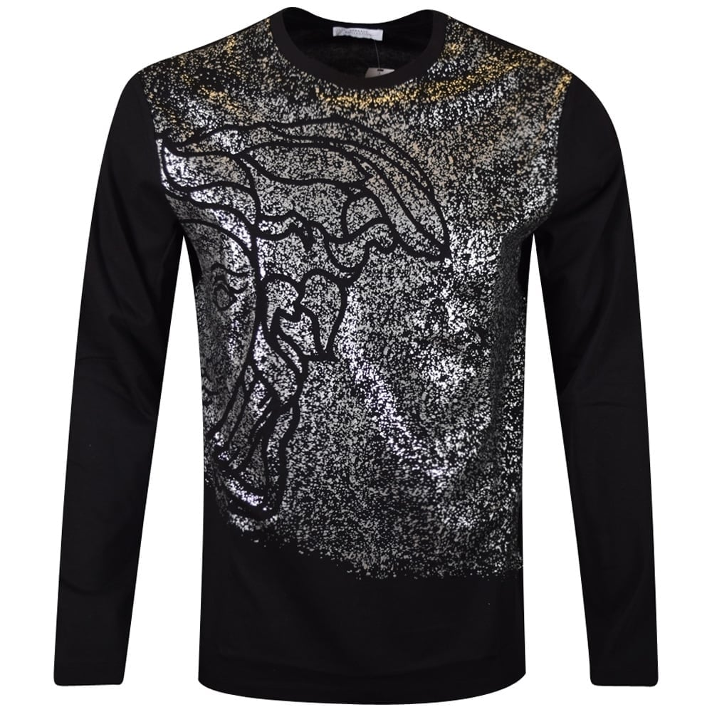 VERSACE COLLECTION Versace Collection Black Print Long Sleeve T ... fdbeaf156b5