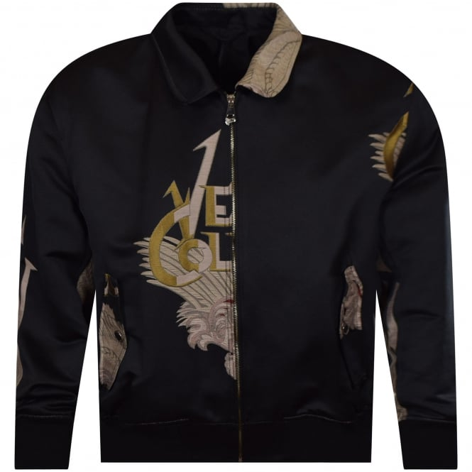VERSACE COLLECTION Black Printed Collar Bomber Jacket