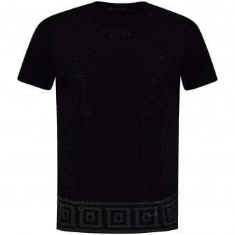 Versace Collection Black Studded Pattern T-Shirt