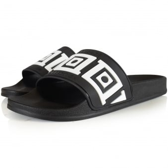 Versace Collection Black/White Aztec Pool Sliders