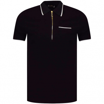 Versace Collection Black Zip Up Polo Shirt