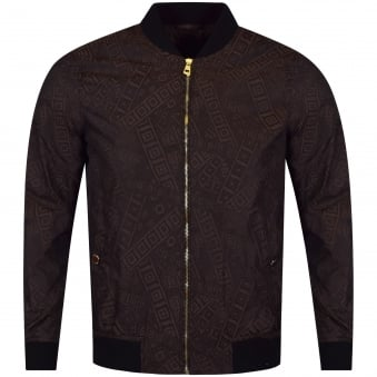 Versace Collection Brown All Over Nylon Bomber Jacket