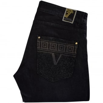Versace Collection Crystal Studded Pocket Jeans