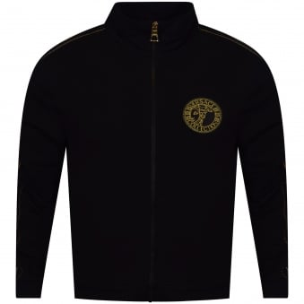 Versace Collection Double Gold Stripe Zip Through Jumper