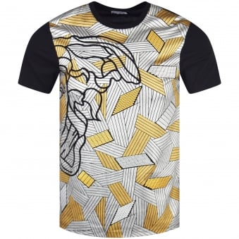 Versace Collection Gold/Silver Medusa Print T-Shirt