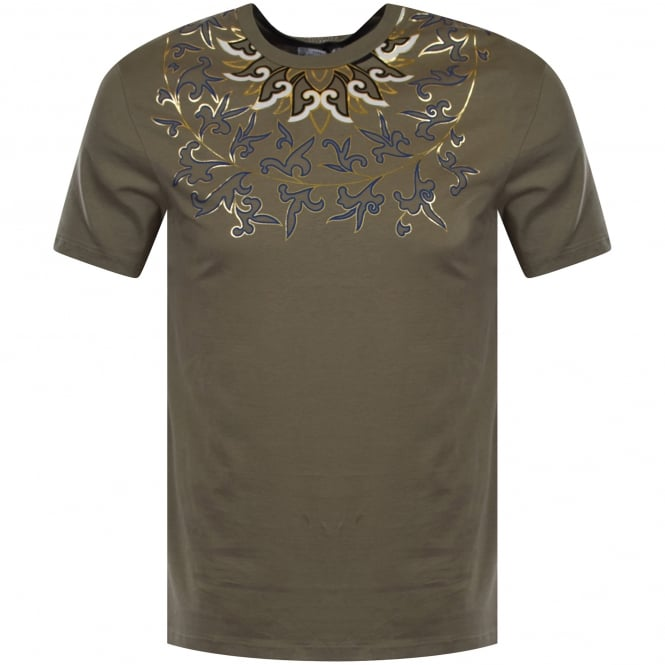 VERSACE COLLECTION Khaki/Gold Multi Print T-Shirt