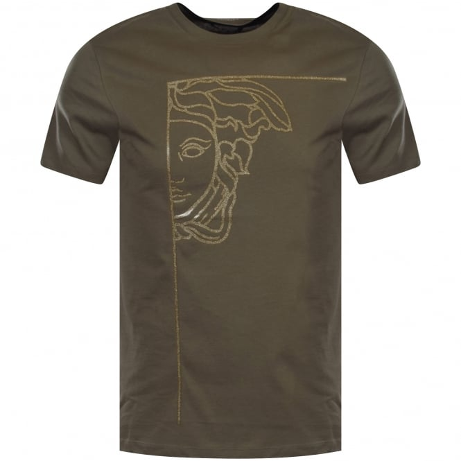 3c71bc63 VERSACE COLLECTION Versace Collection Khaki/Silver Glitter Logo T ...