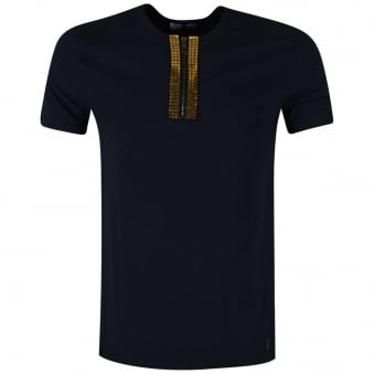Versace Collection Navy Henley Collar T-Shirt