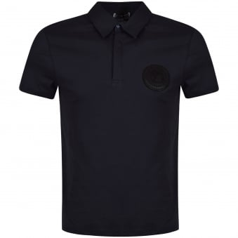 Versace Collection Navy Rubber Logo Polo Shirt