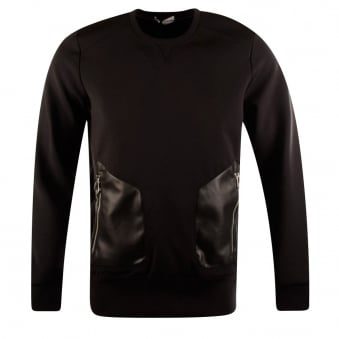 Versace Collection Black Neoprene/Leather Sweatshirt