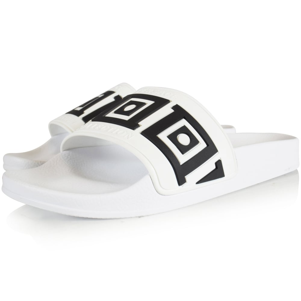 954a26d55ec VERSACE COLLECTION Versace Collection White Black Aztec Pool Sliders