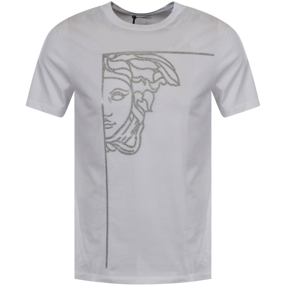 VERSACE COLLECTION Versace Collection White Silver Glitter Logo T ... c30aa1490f1