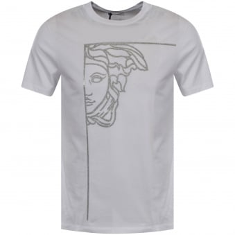 Versace Collection White/Silver Glitter Logo T-Shirt