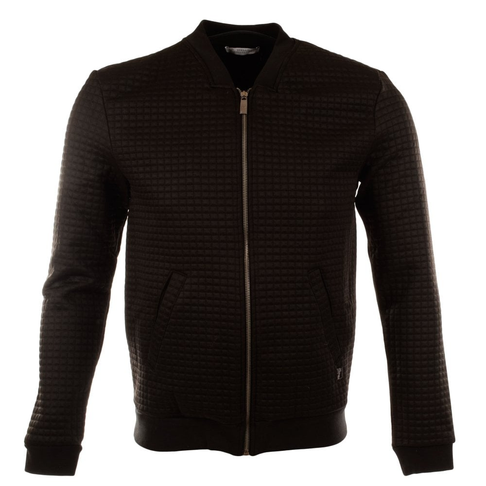 VERSACE COLLECTION Versace Collections Black Cube Bomber Jacket ...